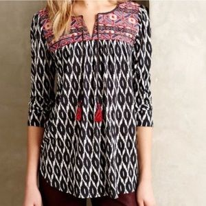 One September   Anthro Embroidered Mixed Print Top